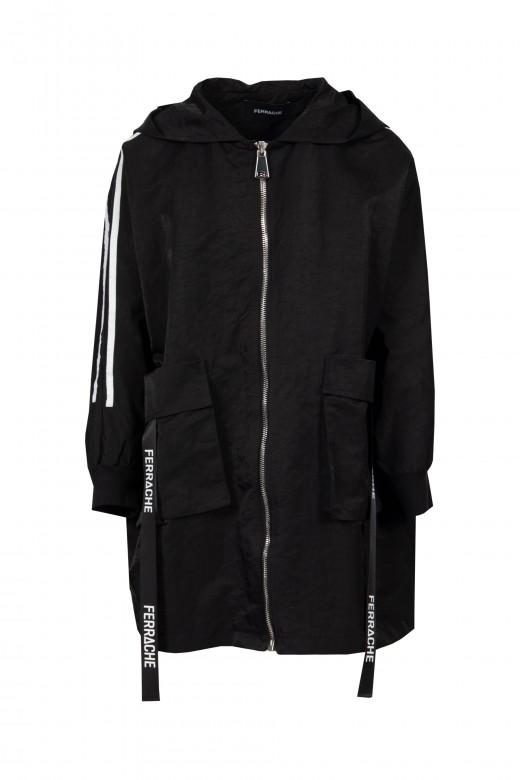 Parka oversize con capucha y cintas personalizadas
