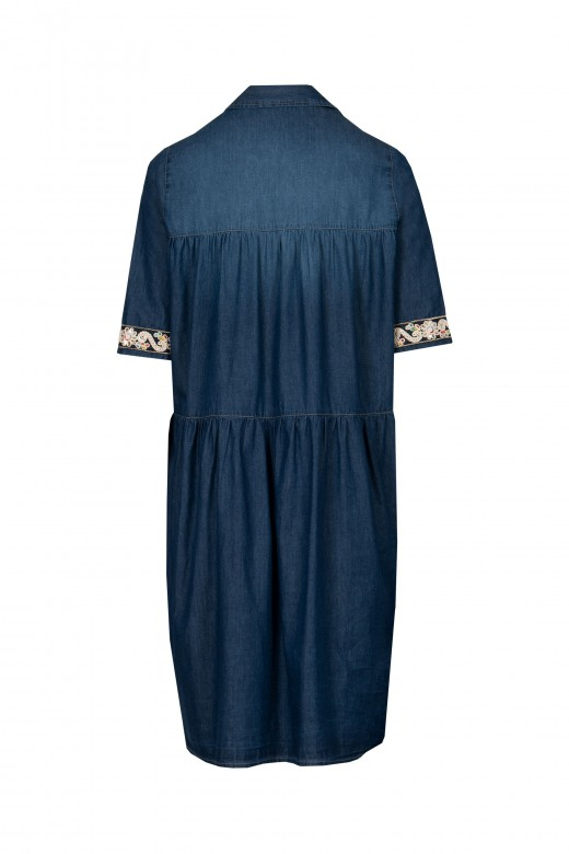 Denim shirt dress with embroidered detail on the sleeve