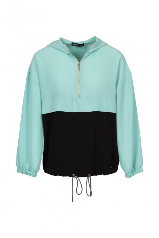 Sweater combinada fecho de correr