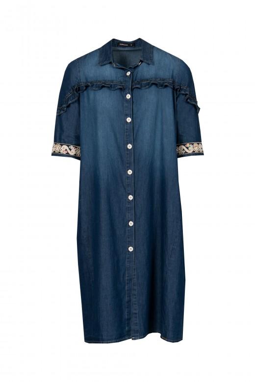 Vestido camisero vaquero con detalle bordado en la manga