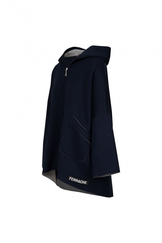Abrigo capucha punto doble