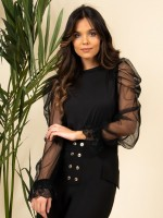 Top with tule and lace sleeves