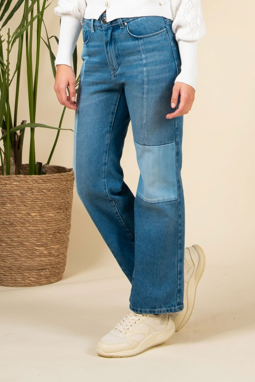 Patchwork bell-bottom jeans