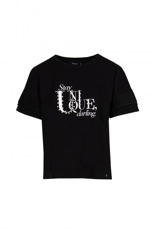 T-shirt com pérolas e folho duplo