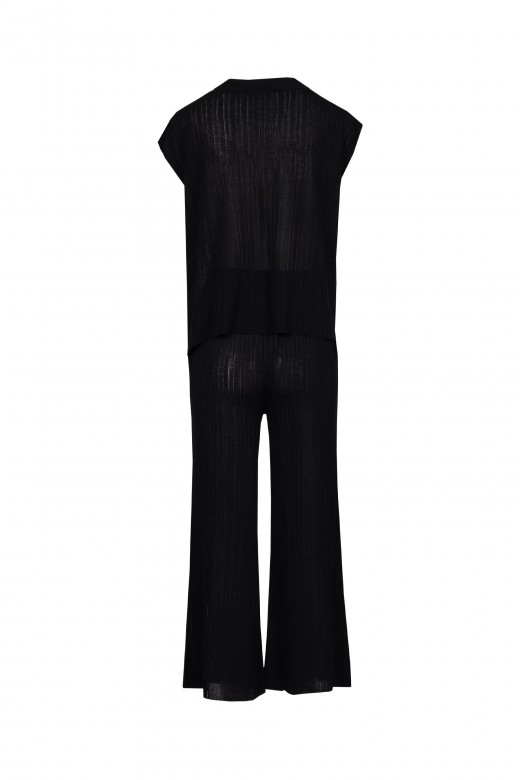 Set of ribbed knit pants cullote