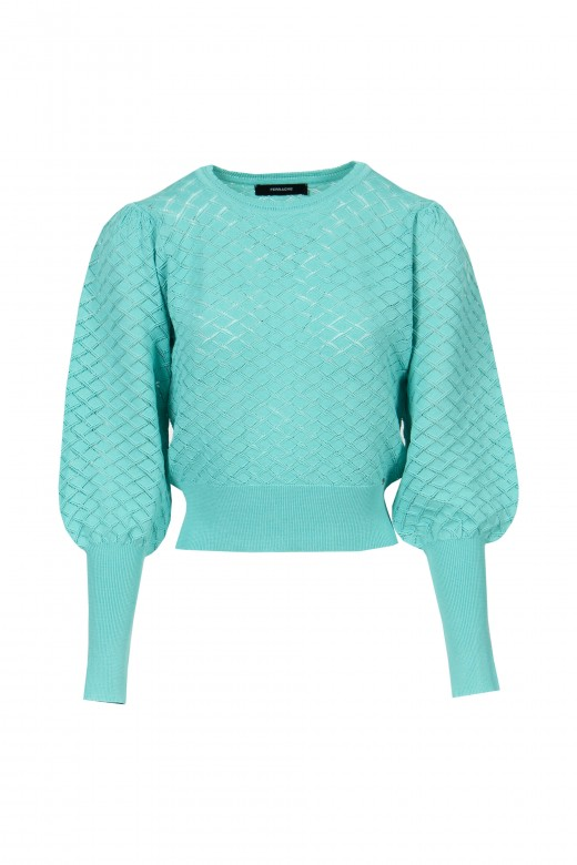 Knitted sweater with transparency