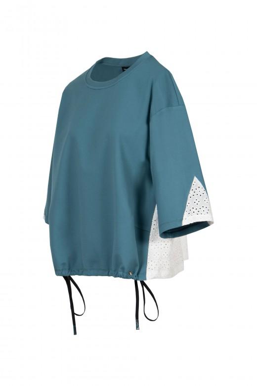 Camisola com bordado perfurado e elástico