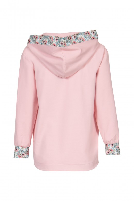 Hooded detail sweatshirt and printed cuff