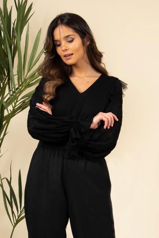 Lace shawl sleeve tunic