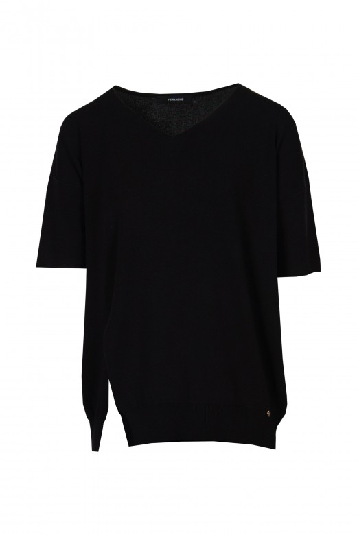Short sleeve knit set and cullote pants