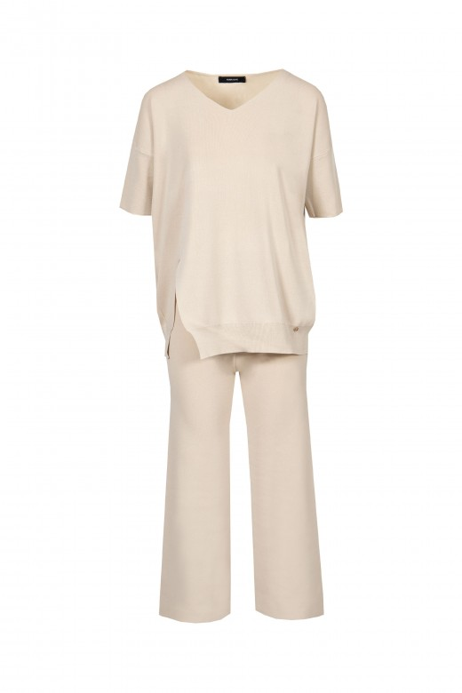 Short sleeve knit set and cullote pants