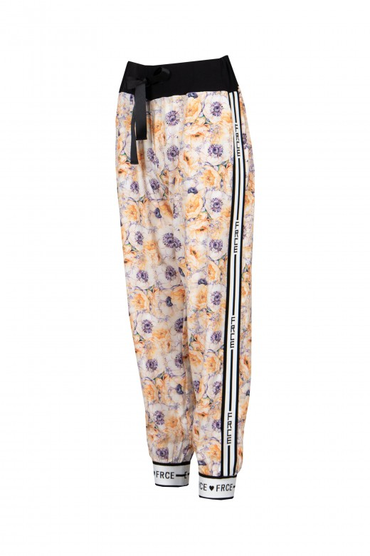 Printed joggers with side stipe logo