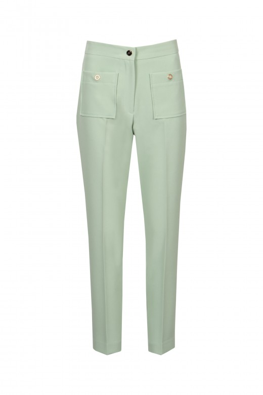 Mid-waist skinny trousers with patch pockets