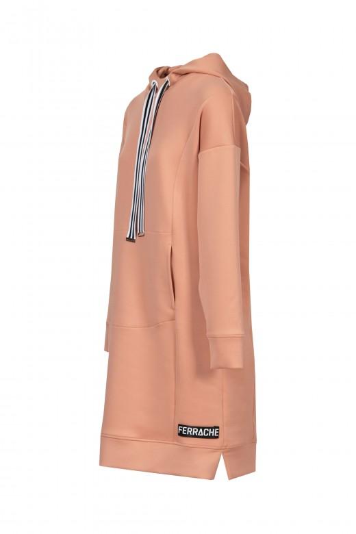 Knit sport dress with hood