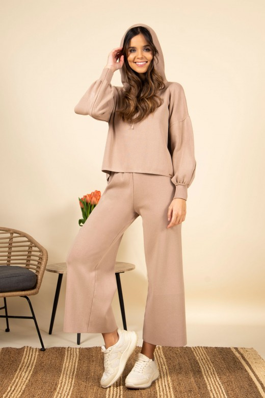 Knitted sweater set hood pants cullote