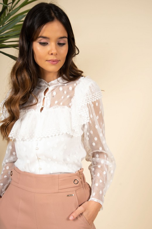 Ruffled blouse with tulle