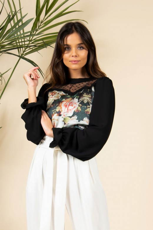 Long sleeve floral top with tulle