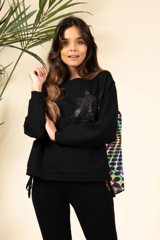 Sweater de malha combinada assimétrica