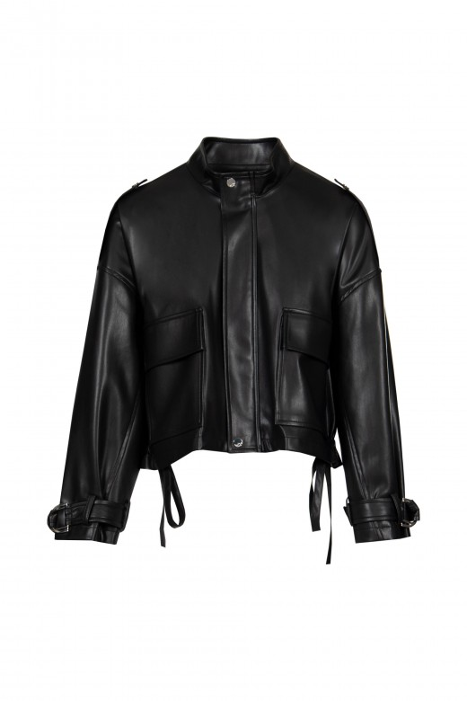 Oversize faux leather jacket with buckle