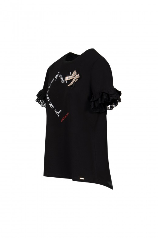 Ruffle sleeve application t-shirt with frill