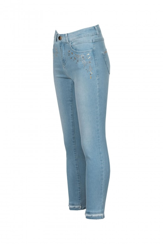 Jeans with application and fringe finish
