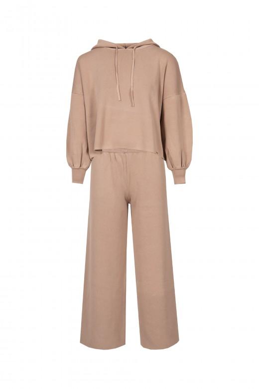Conjunto de malha camisola capuz calça cullote