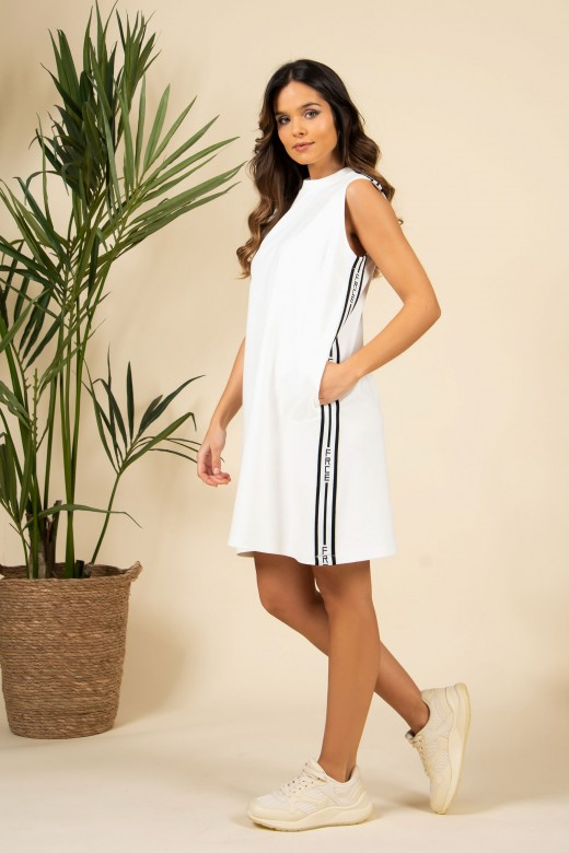 Knit dress with logo side stripe