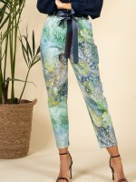 Printed trousers with faux leather belt