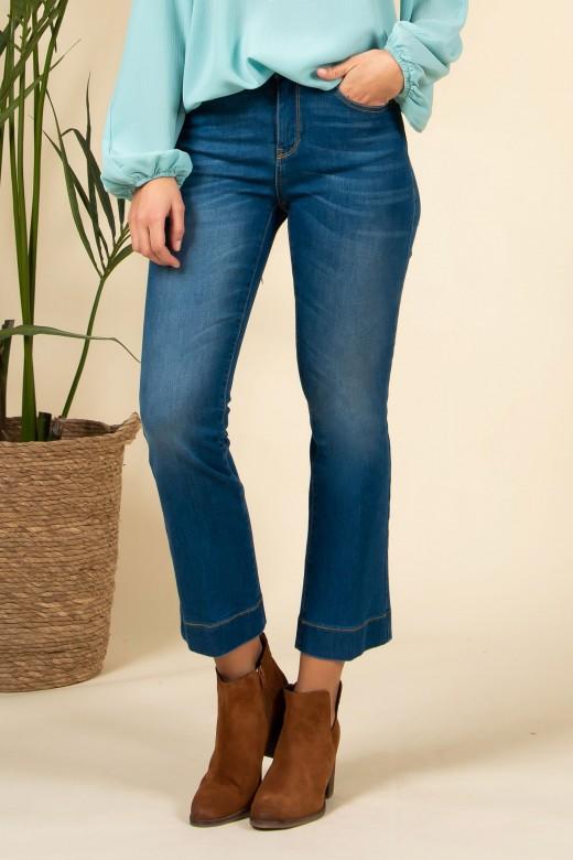 Jeans cintura subida cropped flare