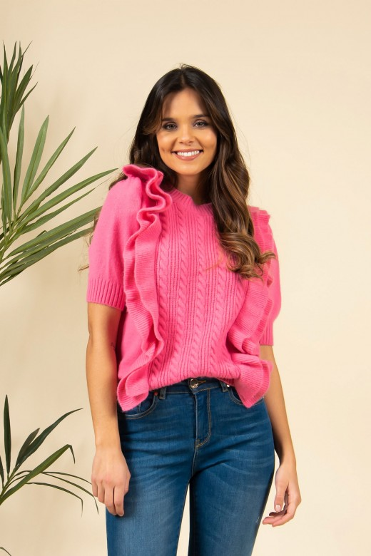 Double frill knit sweater