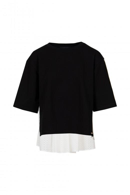 Sweater con bordado perforado y logo banda lateral