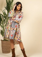 Printed asymmetrical shirt dress
