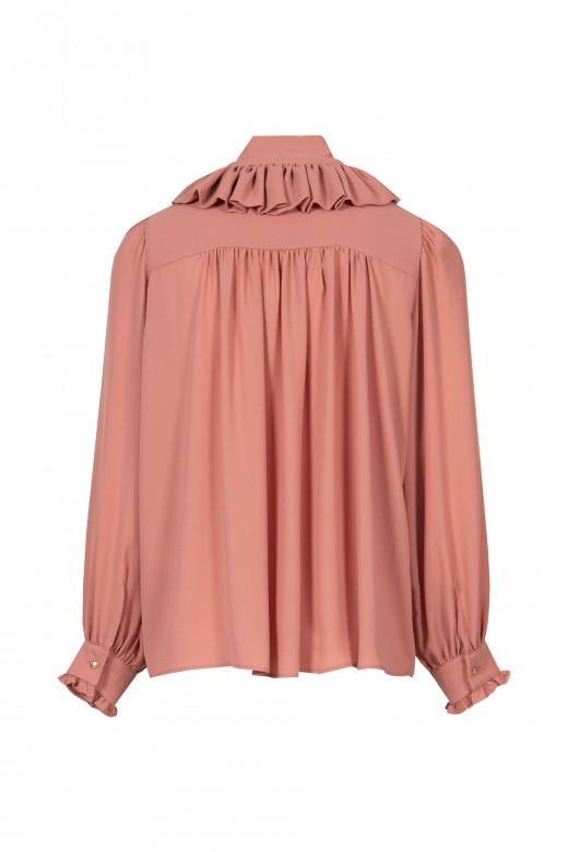 Fluid blouse with frills and loop closure