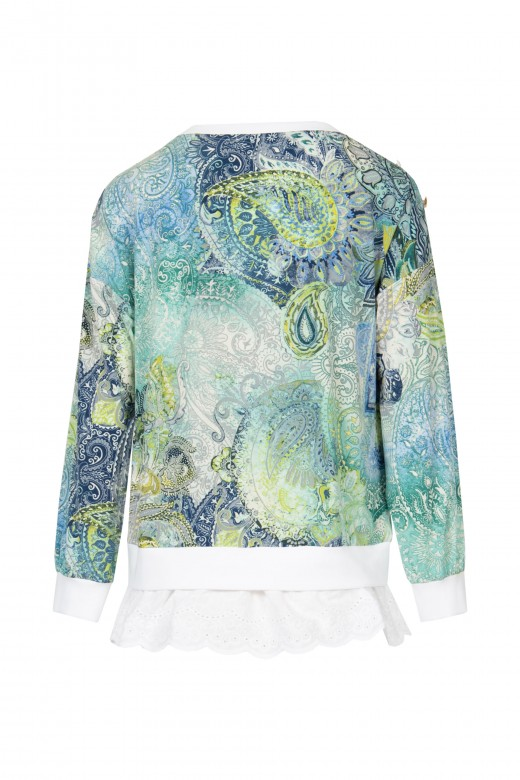Printed blouse with cut-work embroidery