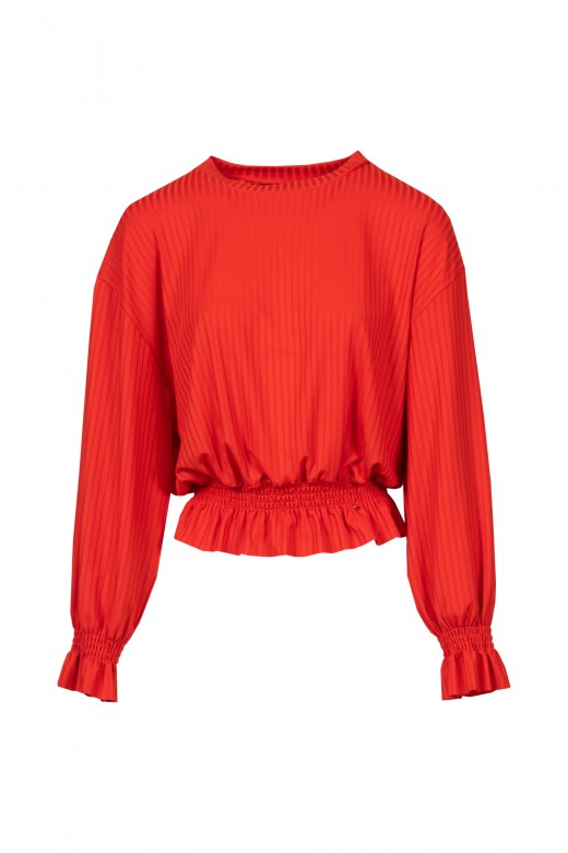 Ribbed sweater with ruffles