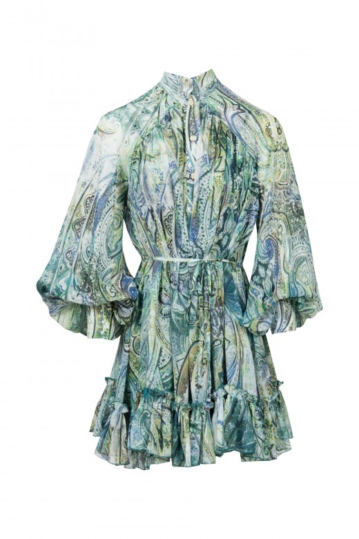 High neck shirt dress with full sleeves