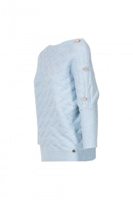 Camisola malha trabalhada botões no ombro