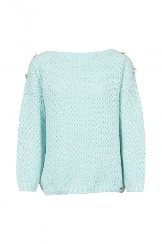Round neckline knitted sweater
