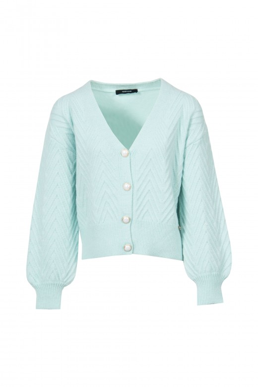 Knitted jacket with plaited effect