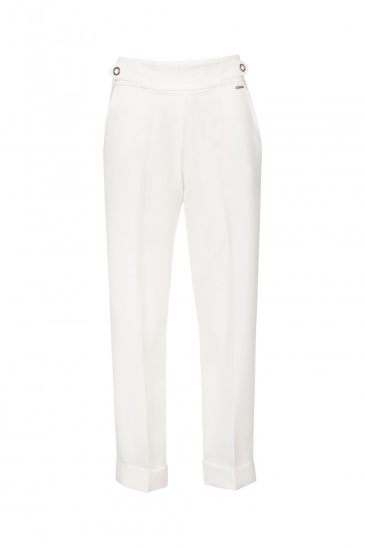 Darted trousers with turn-up hems