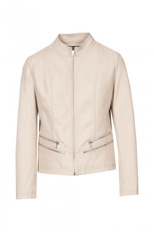 Basic jacket with leather effect