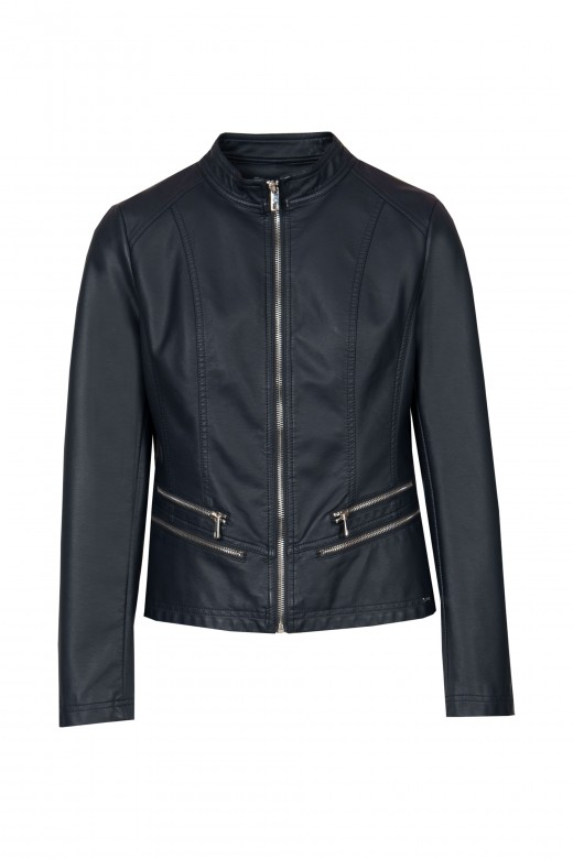 Basic jacket with leather effect
