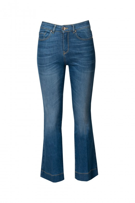 High rise cropped flare jeans
