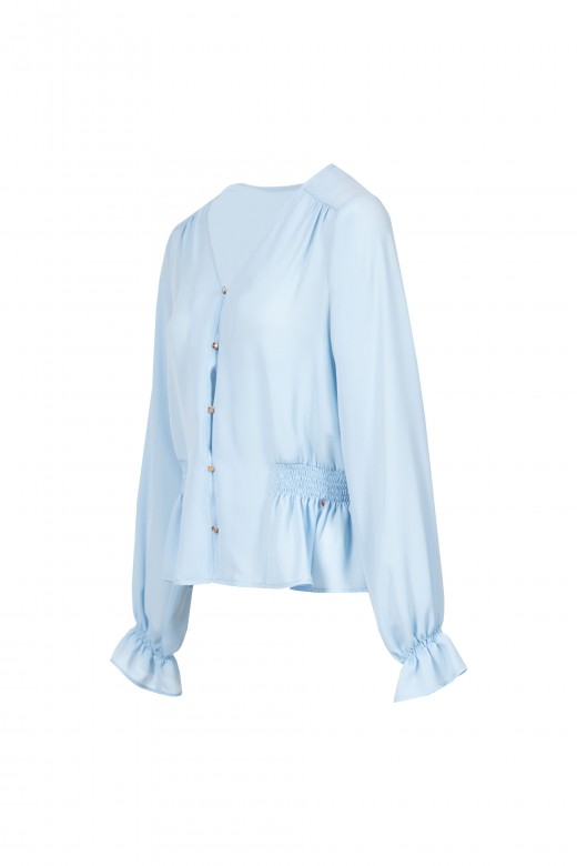 Blusa con escote pico y botones