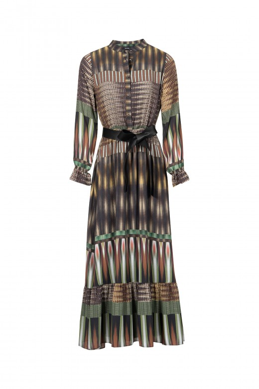 Long printed dress with faux leather belt