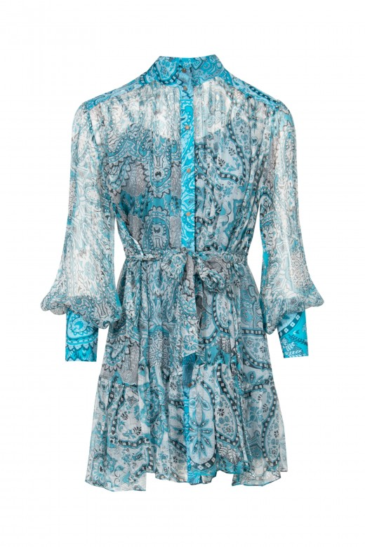 High neck printed shirt dress