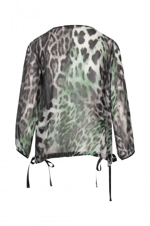 Animal print v-neck blouse