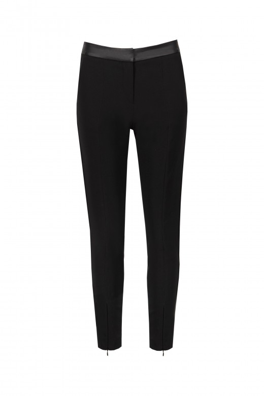 High-waist trousers satin detail