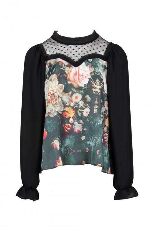 Camiseta floral tul