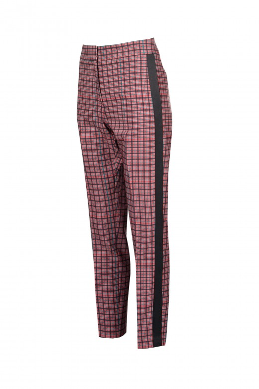 Pantalón de cuadros con barra lateral